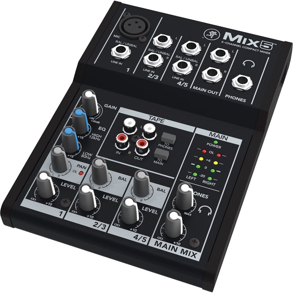 Small audio mixer for hire Mackie Mix5 – 5-Channel Compact Mixer Isometric view