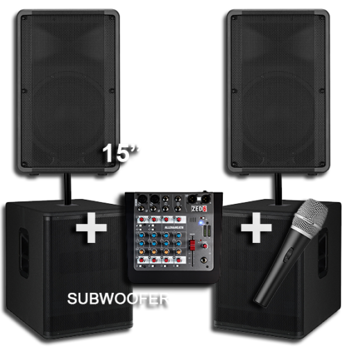 2 Large Speakers with 2 Subwoofers for Hire 1
