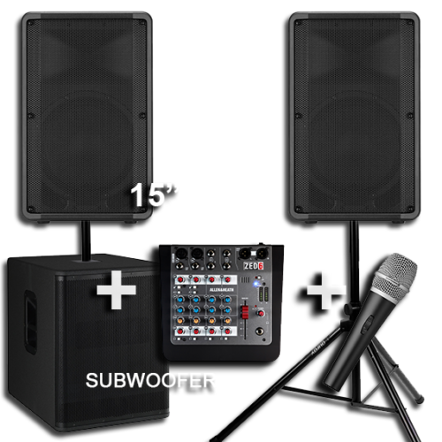 2 Large Speakers with a Subwoofer for Hire 1