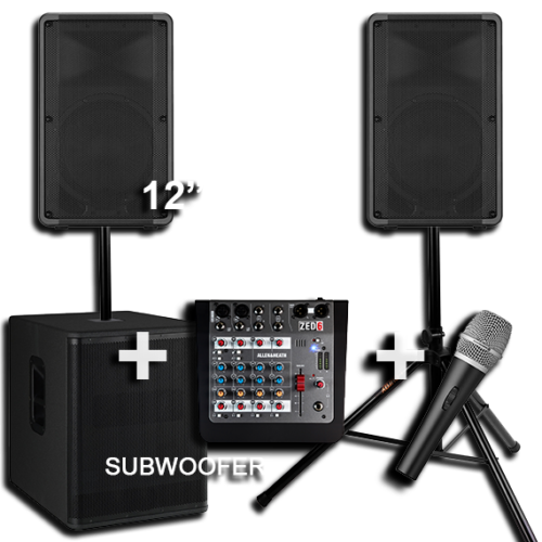 2 Speakers with a Subwoofer for Hire 1
