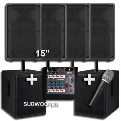 2 Speakers with a Subwoofer for Hire 2