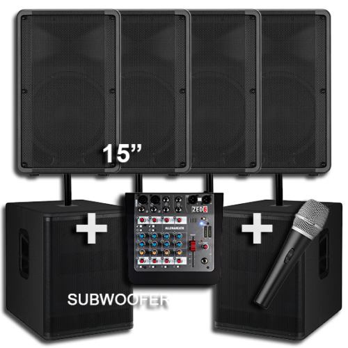 4 Large Speakers with 2 Subwoofers for Hire 1