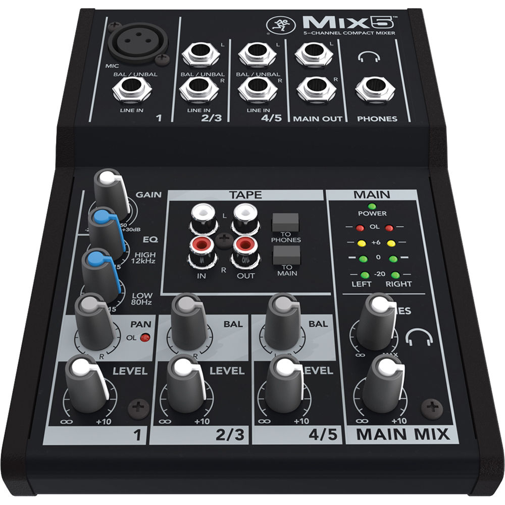 small audio mixer Mackie Mix5 front view for hire