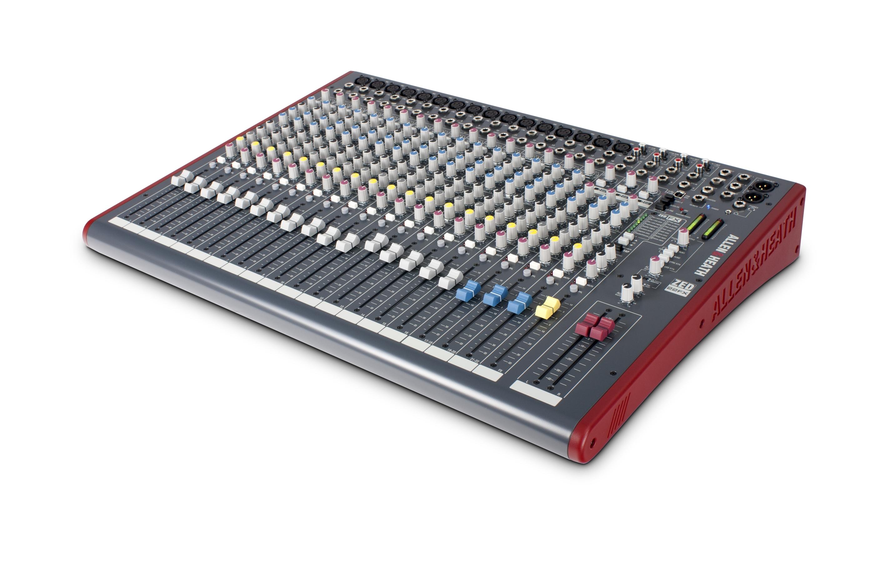 large audio mixer Allen & Heath ZED22FX isometric view for hire